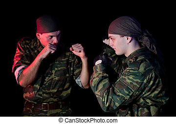 Two soldiers fighting