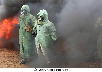 chemical protection - Two soldiers in chemical protection...