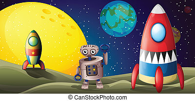 Two spaceships and a robot in the outer space - Illustration...
