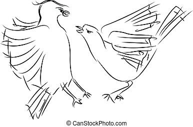 two sparrows fighting, sketch
