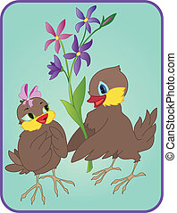 Two sparrows with flowers