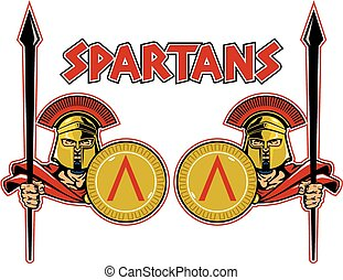 two spartans with shields
