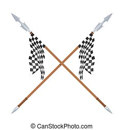 Two spears with flagon a white background. Vector illustration of a heraldic sign - crossed spears and flag. Cartoon vector illustration