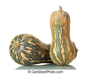 Two speckled pumpkin isolated on white background