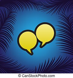 Two speech bubble sign. Vector. Golden icon with black contour a