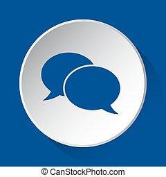 two speech bubbles - blue icon on white button