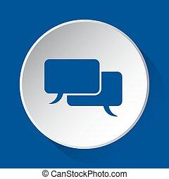 two speech bubbles, blue icon on white button