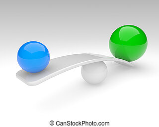 two spheres compare (balance concept)