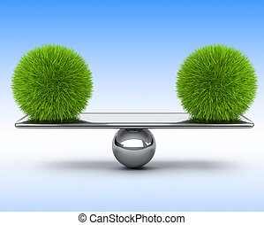Two spheres of grass balancing on the scales. Eco concept.