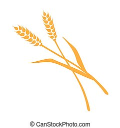 Two spikelets flat logo isolated on white background - vector illustration