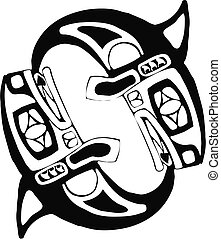 Two Spinning Whales in the style of Northwest Coast Native imagery.