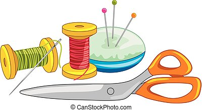 Two spools of thread with needle, dressmaking pins and...