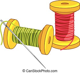 Two spools of thread with needle. Vector illustration