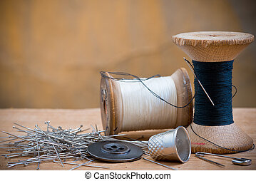 two spools of thread