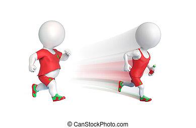 Two sportsmen running