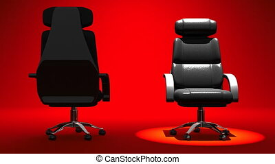 Two Spotlighted Business Chairs On Red Background. 3D render Animation For Business scene.