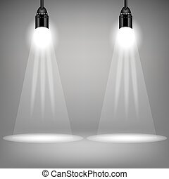 Spotlights - Two Spotlights on Soft Grey Background. Bright...