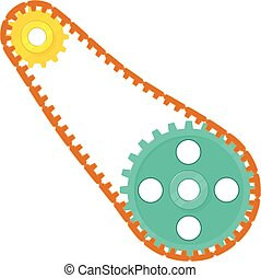 Two sprockets with chain icon, cartoon style