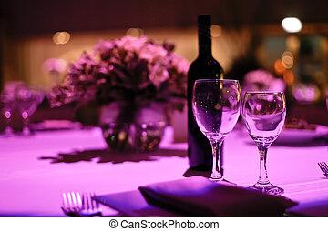 two., stół, obiad, ozdobny, romantyk