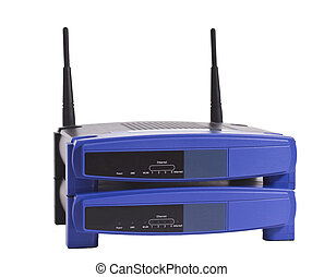 stacked network routers - two stacked network routers in ...