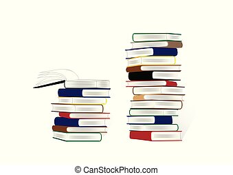 two stacks of books isolated on the white background, horizontal vector illustration