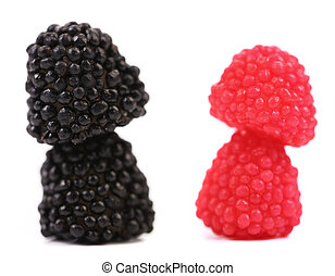 Two stacks of jelly fruit in berries candy form.