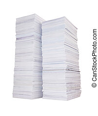 Two stacks of paper - Two high stacks of paper isolated on...