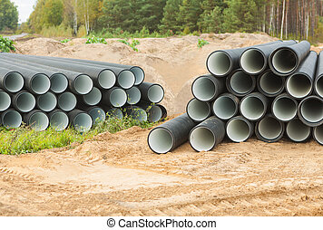 two stacks of pipes
