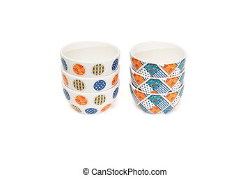 Two stacks of porcelain bowls isolated