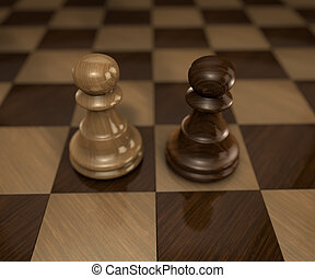 two standing pawn chess pieces on checkered chess board