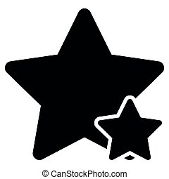Two star best of the best icon black color illustration flat style simple image