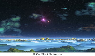 Two Stars (UFO) over Alien Planet