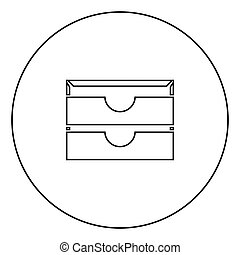 Two stationary paper tray black icon in circle outline