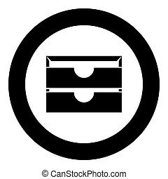 Two stationary paper tray black icon in circle vector illustration
