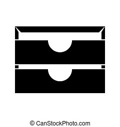 Two stationary paper tray black icon .