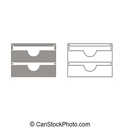 Two stationary paper tray grey set icon .