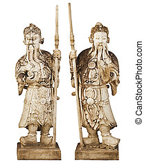 Two statues of ancient Chinese warriors isolated on white backgr