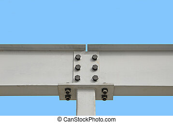 Steel I-Beam - Two Steel I-Beams bolted together for...
