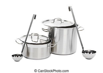 two steel pots with laddles - two professional metal pots...