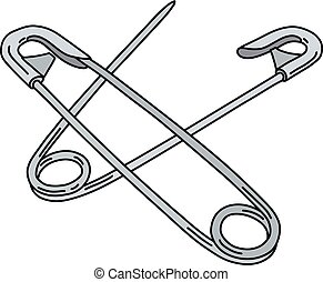 Two steel safety pins