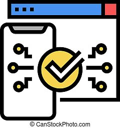 two step authentication color icon vector. two step authentication sign. isolated symbol illustration