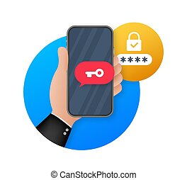 Two step authentication vector illustration, flat cartoon smartphone and computer safety login or signin. Vector stock illustration