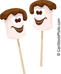 Two sticks with marshmallows with chocolate in Cartoon style...