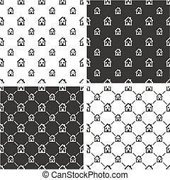 Two Storey House Big & Small Seamless Pattern Set