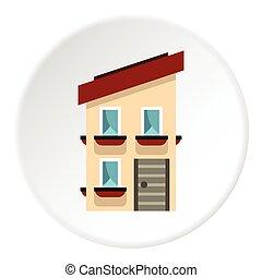 Two storey house icon, flat style