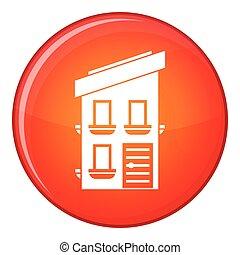 Two-storey house icon, flat style
