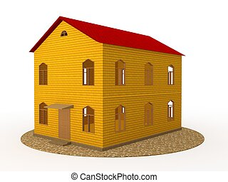 Two-storey house - Two-story house of yellow brick