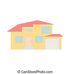 Two storey house with a garage icon, cartoon style
