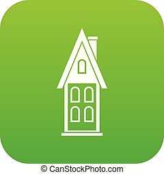 Two storey house with attic icon digital green for any...