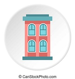 Two storey house with large windows icon